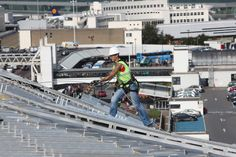 Worker on the roof of T2 during the construction of the new terminal at Dublin Airport