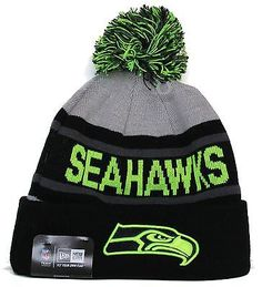 1 NFL New Era Seattle Seahawks Biggest Fan Neon Cuffed Sport Knit Pom Beanie