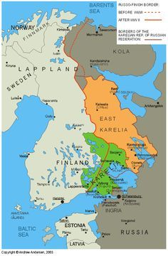 Map showing the border between Finland and Russia before and after WWII, and the regions of Karelia.