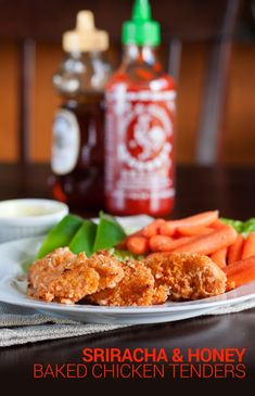 Sriracha and Honey Baked Chicken Tenders. Only 4 ingredients and cook time is less than 15 minutes