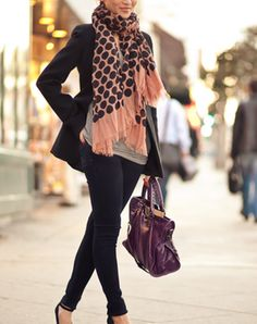 THE PERFECT PAIR: Blazer + Skinny Jeans THE WILD CARD: Statement Scarf  Read more: 7 Surprising Ways to Build a Better Outfit | PureWow National Sign Up For PureWow's Daily Email