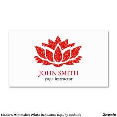 Modern Minimalist White Red Lotus Yoga Instructor Business Card