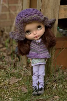 Bohemian Knitted Poncho And Chic Crocheted Hippy Hat, Peasant Blouse, Lavender Sugar Mountain Jeans And Beaded Peace Necklace For Blythe