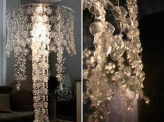 Water - Bottle chandelier.  upcycle those water bottles.  cut out bottoms which have floral shape.  String around light bulb fixture.