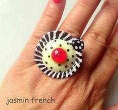 jasmin french ' checker the dots ' RINGTOP lampwork bead glass art