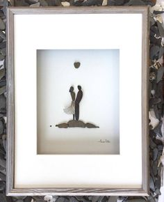Pebble Art Romantic Couple in Shadow Box Frame Modern Wall Art