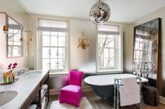 playful touches in the bathroom like a disco ball over the soaking tub.... lol
