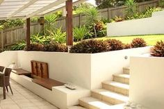 Super Easy Patio Ideas On A Budget Backyard Landscaping Curb Appeal Ideas Sloped Backyard Landscaping, Landscaping Retaining Walls, Sloped Garden, Landscaping Ideas, Backyard Pools, Sloping Backyard, Landscaping Edging, Garden Bed, Side Yards