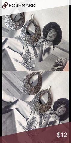"""Embossed Earrings Silver and navy vintage embossed earrings.  Approx 2.5"""" Jewelry Earrings"""