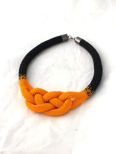 Beads crochet rope necklace a black and by RebekeJewelryShop, $99.00