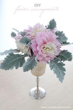 Easy DIY Flower Arrangements - Julie Blanner entertaining & design that celebrates life Fake Flower Arrangements, Fake Flowers, Amazing Flowers, Diy Flowers, Artificial Flowers, Beautiful Flowers, Wedding Flowers, Vintage Flowers, Purple Flowers