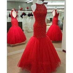 Red mermaid prom dress; Tulle long prom dress; Mermaid prom dress; Beaded…