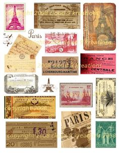 French Ephemera Digital Collage Sheet 1-french, ephemera, france, collage sheet, printable