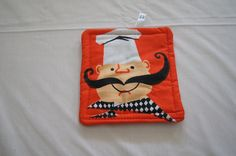 Vintage 1960's - Cartoon Chef Pot Holder -  5.5 inch square by TheMercerStreetHouse on Etsy