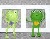 """Cadre decoratif mural pour chambre d'enfant. """" Les green froggys"""". Toutes mes creations sur www.bichatandfriends.be"""
