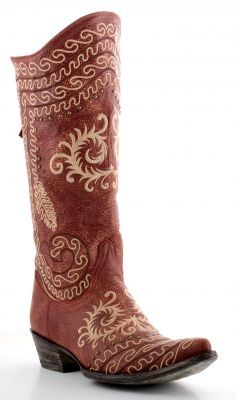 Ladies Old Gringo red cowboy boot with gold thread stitchings (via @Allens Boots)