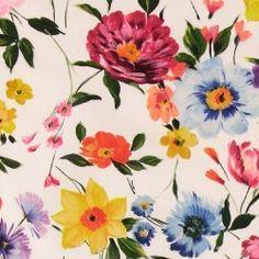 Halfpanama white with big flowers - Stoff & Stil Big Flowers, Fabric, Stuff To Buy, Tejido, Tela, Cloths, Fabrics, Tejidos