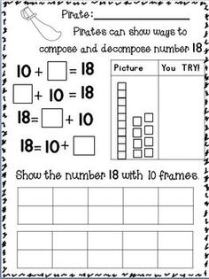 Composing and Decomposing Numbers to 20 w/ PIRATES~ Freebie in the download preview :o) GO LIL' PIRATES!!!!  AAAARRRGHHHH!