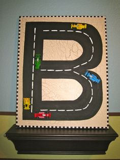 Wall Letter B Initial Boys Room Decor Race Car 3 Dimensional GLOW in the DARK