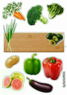 Topper introdução Alimentar Vegetable Cake, Play Food, Free Paper, Cake Toppers, Printables, Stuffed Peppers, Stickers, Scrap, Cakes