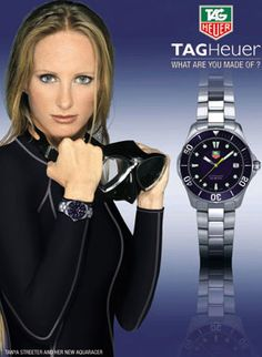 Tanya Streeter ad for TAG Heuer