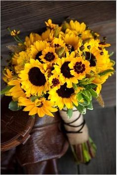 wedding bouquet of yellow sunflowers