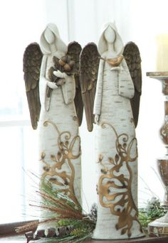 "Melrose International - Birch Angel (x2 Asst) 20""H Polyresin"