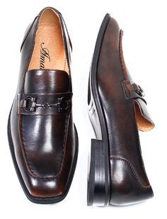 Amali Brown Slip-On Shoes with Metal Buckle