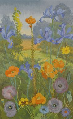 Sir Cedric Morris - Poppies, Cornflowers, Snap-dragons, Irises and Lillies,1965