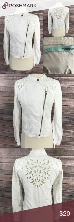 Maurices Jacket Small White Asymmetrical Zip Maurices Womens Jacket Size Small White Asymmetrical Zip Laser Cut Linen Blend. Measurements: (in inches) Underarm to underarm: 16.5 Length: 19  Good, gently used condition Maurices Jackets & Coats