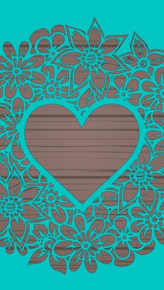 Teal lace heart
