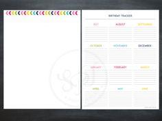 Notes printable & birthday tracker