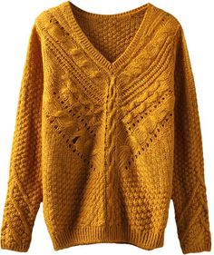 V-neck Crochet Cable-knit Sweater