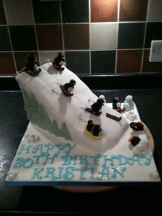 Penguin ski and snowboarding slope cake.... The best of both worlds... Need to make this for my daughter Tori's birthday.