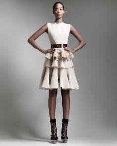 Alexander McQueen Sleeveless Lace Peplum Top, Tiered Lace Skirt & Tortoise Shell Belt