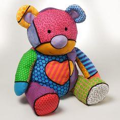 "Teddy Bear Tallulah with Heart 26"" Plush Romero Britto Pop Art # 4024573 Enesco #Enesco"