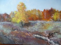 Autumn in Aksakovo, Orenburg area, Russland, oil and acryl on canvas, 40x50cm. Tha picture is in Aksakov museum, Russia