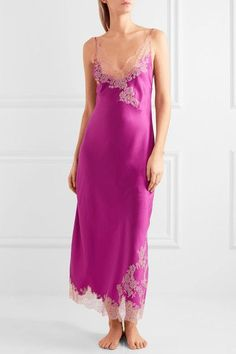 Carine Gilson - Lace-trimmed Silk-twill Nightdress - Magenta - x large