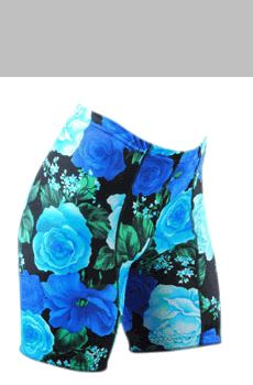 Womens Print Blue Roses Padded Cycling biker Shorts