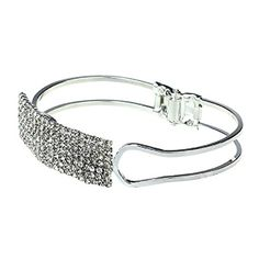 XUANOU Fashion Lady Elegant Bangle Wristband Crystal Cuff Bling Bracelet Gift Silver * To view further for this item, visit the image link.