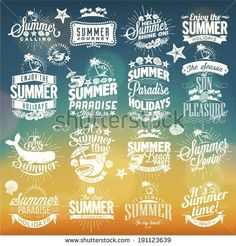 Retro hand drawn elements for Summer calligraphic designs | Vintage ornaments | All for Summer holidays | tropical paradise, sea, sunshine, weekend tour, beach vacation, adventure labels | vector set