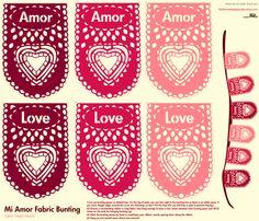 Mi Amor, My Love Fabric Papel Picado banner fabric by featheredneststudio on Spoonflower - custom fabric