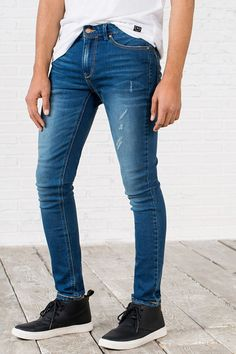 DENIM SUPER-SKINNY LAVADO, azul royal, hi-res