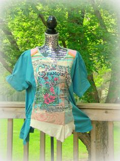 Reconstructed Knit Tunic T Shirt Tee Altered Couture Upcycled. Simple solution for those too-tight shirts.