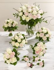 Buy on-line Pink and White Wedding Luxury Rose Collection http://www.weddingheart.co.uk/marks-and-spencer---wedding-flowers.html