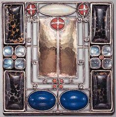 JOSEF HOFFMANN BROOCH FOR LILLI WAERNDORFER.MADE AT THE WIENER WERKSTATTE: Blue Lanterns,