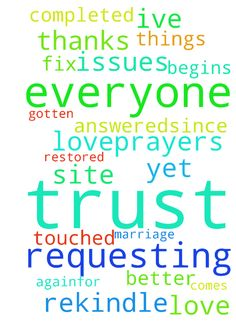 rekindle love/fix trust issues -  requesting prayers my marriage be restored through Christ and she begins to trust me again.for with trust comes love.prayers for everyone on this site that they be touched by Him and their prayers are answered.since ive been requesting prayers things have gotten better but not completed yet so thanks everyone for your prayers.  Posted at: https://prayerrequest.com/t/3rG #pray #prayer #request #prayerrequest