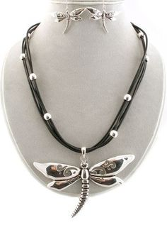 Jewelry Lot 2 Sets Chunky Silver Tone Dragonfly Pedant Black Layered Necklaces
