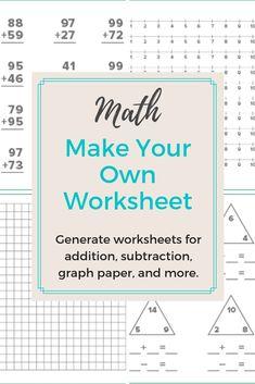 21 Best Worksheet Generator images | Worksheet generator, 4th grade ...