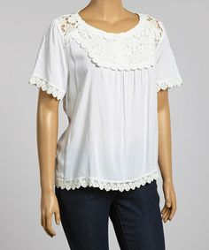 Loving this White Floral Embroidered Scoop Neck Top - Plus on #zulily! #zulilyfinds